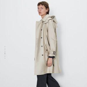 Zara Jackets & Coats - Water resistant hooded trench coat